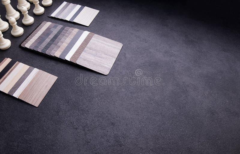 Concepto de diseño material interior Muestras de piso de madera de la textura de baldosa de la lamina y del vinilo imagen de archivo