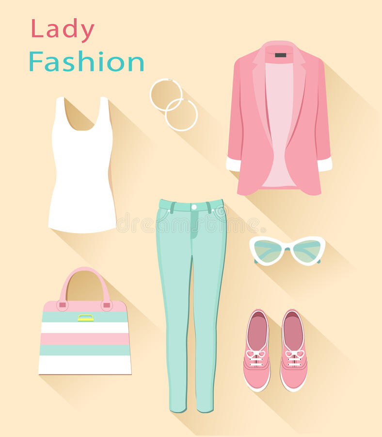 Concepto de diseño plano de la mirada de la moda Sistema de la ropa de la mujer Objetos de moda de la ropa stock de ilustración