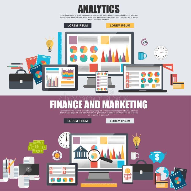 Concepto de diseño plano del análisis de datos grande del negocio stock de ilustración