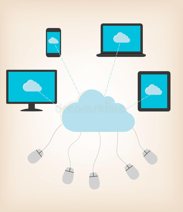 Concepto de diseño plano del concepto computacional de la nube ilustración del vector