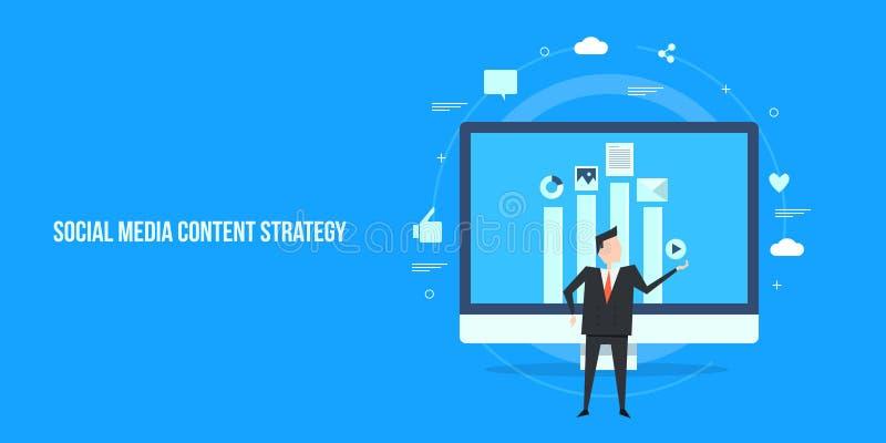 Concepto de diseño plano del desarrollo contento de la estrategia para la audiencia social de los medios stock de ilustración