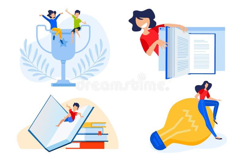 Concepto de diseño plano del eBook, éxito de la educación, conocimiento libre illustration