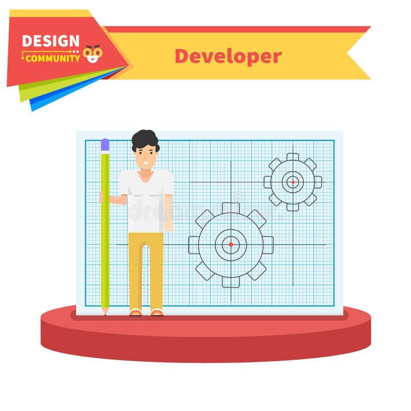 Concepto de diseño plano del hombre del desarrollador libre illustration