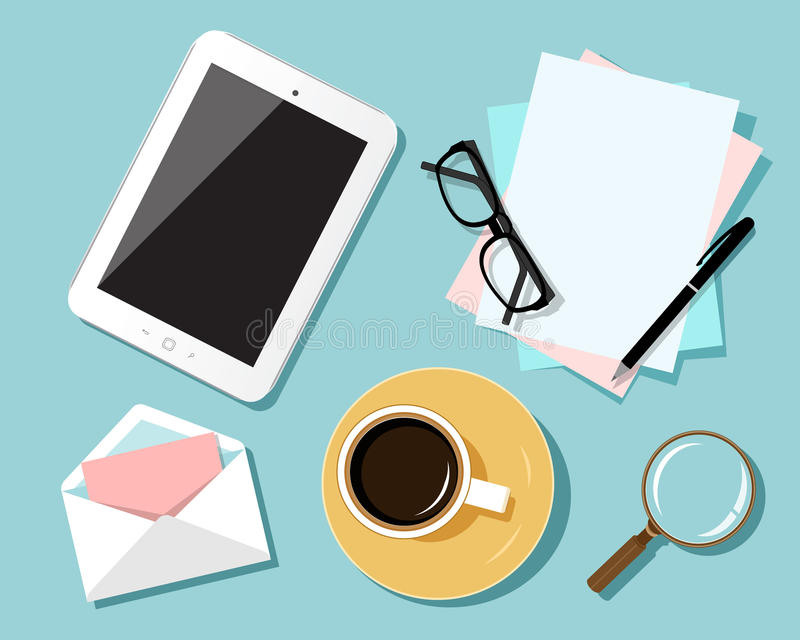 Concepto de diseño plano del lugar de trabajo del negocio La vista superior de la tabla con la tableta digital, papeles, oficina  libre illustration