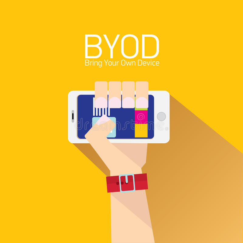 Concepto de diseño plano del vector de BYOD ilustración del vector