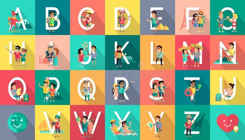 Concepto de diseño plano del vector móvil de la gente del alfabeto libre illustration