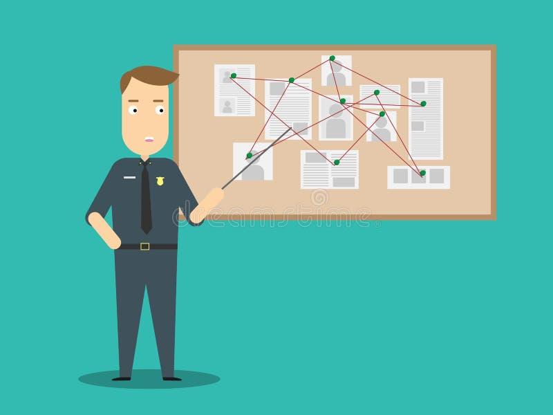 Concepto de diseño plano de la investigación del crimen ilustración del vector