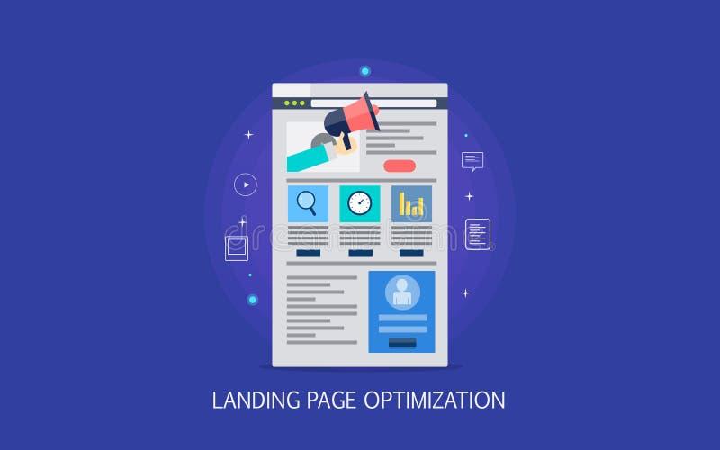 Concepto de diseño plano de la optimización de aterrizaje de la página, desarrollo fácil de usar de la página web, márketing digi stock de ilustración