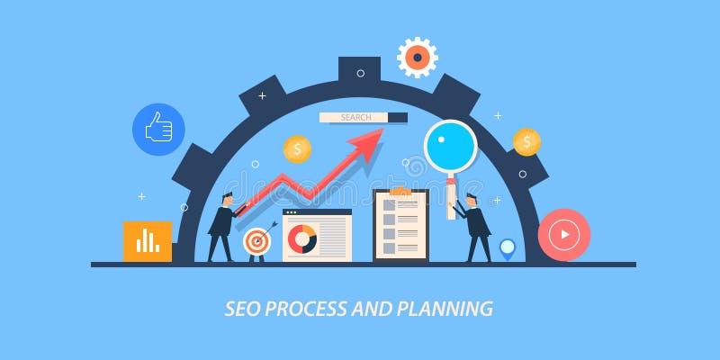 Concepto de diseño plano de la optimización del Search Engine, hombres de negocios que planean un proceso en curso del seo ilustración del vector