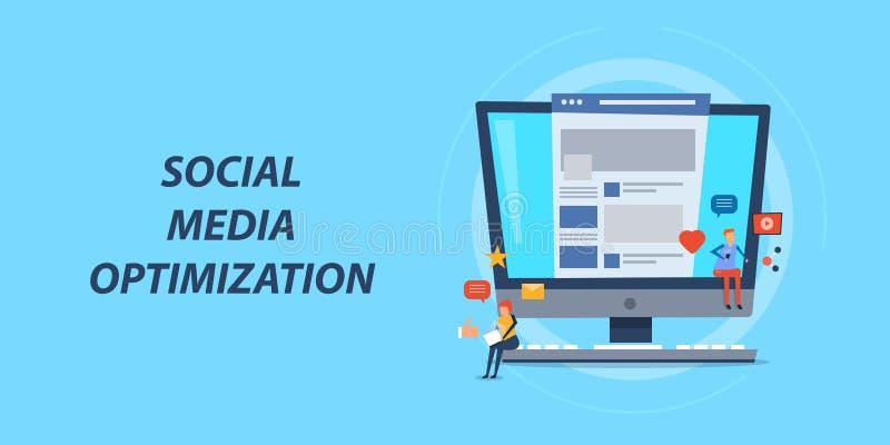Concepto de diseño plano de la optimización social de los medios, márketing de la red, promoción contenta ilustración del vector