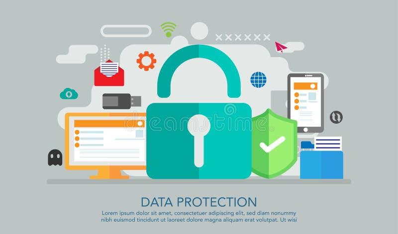 Concepto de diseño plano de la protección de datos, concepto seguro del trabajo, conveniente para la bandera, fondo, ejemplo de l libre illustration