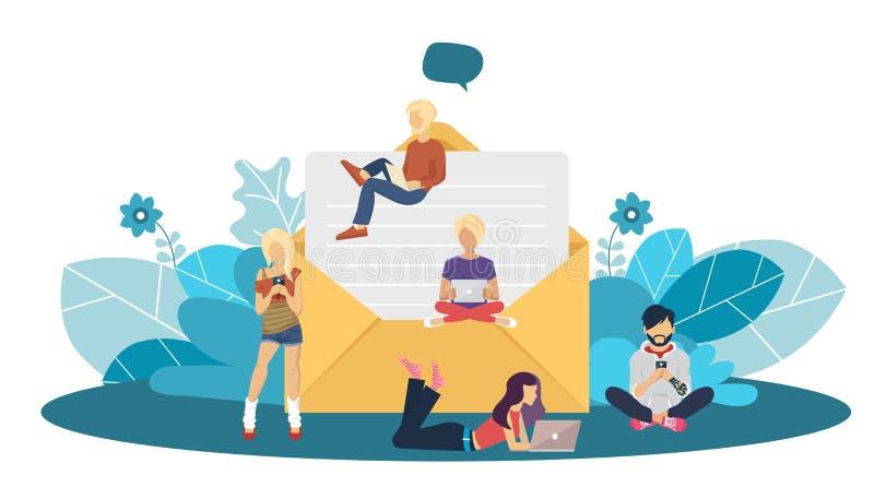 Concepto de diseño plano de la publicación regularmente distribuida de las noticias vía email con algunos temas de interés a sus  stock de ilustración