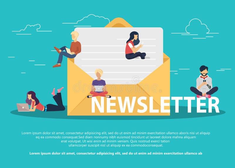 Concepto de diseño plano de la publicación regularmente distribuida de las noticias vía email con algunos temas de interés a sus  libre illustration
