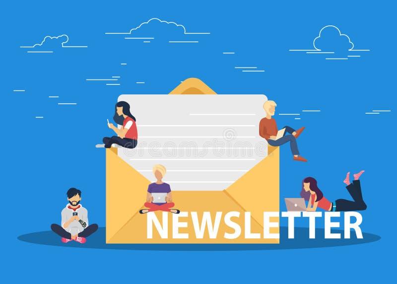 Concepto de diseño plano de la publicación regularmente distribuida de las noticias vía email con algunos temas de interés a sus  ilustración del vector
