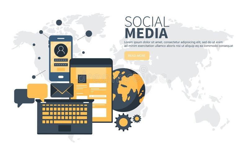 Concepto de diseño plano moderno de la red social para la página web y la página web móvil Vector plano ilustración del vector