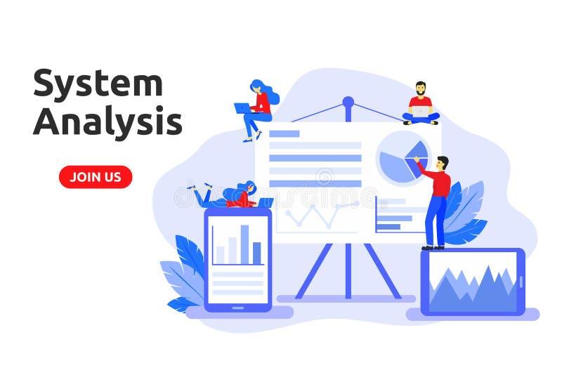 Concepto de diseño plano moderno para el análisis de sistema Analysi grande de los datos libre illustration