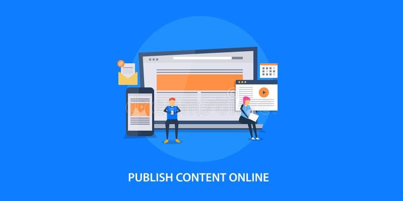 Concepto de diseño plano de publicar el contenido en línea, márketing digital ilustración del vector