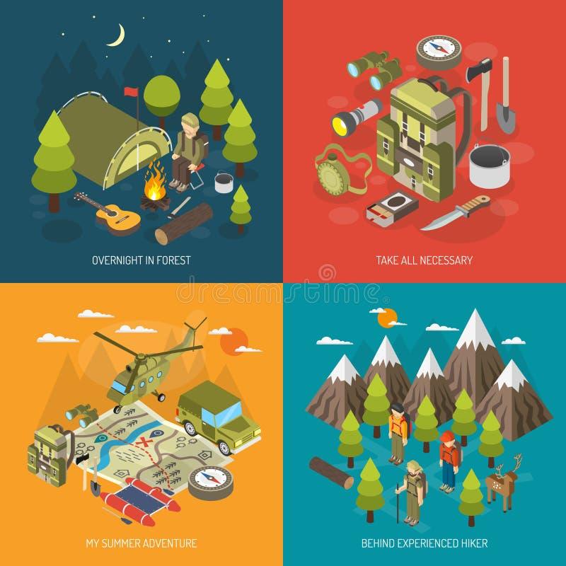 Concepto de diseño que camina y que acampa libre illustration