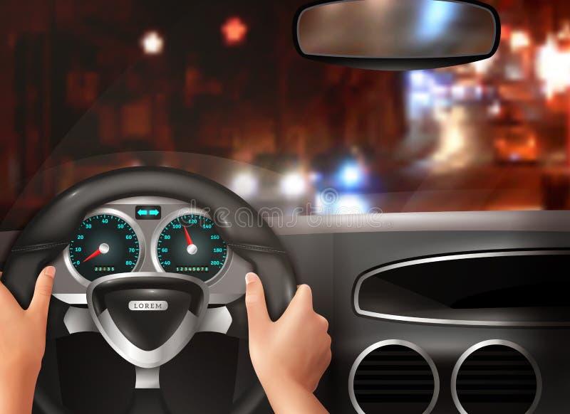 Concepto de diseño realista de la conducción de automóviles stock de ilustración