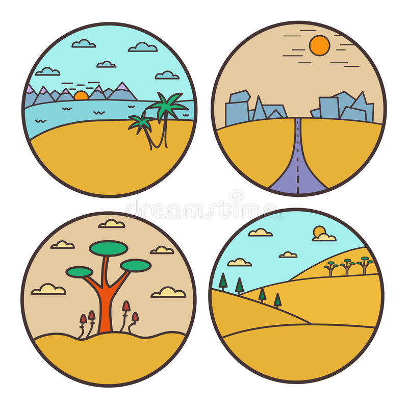 Concepto de diseño redondo del paisaje Línea plana colección de la opinión de la naturaleza ilustración del vector