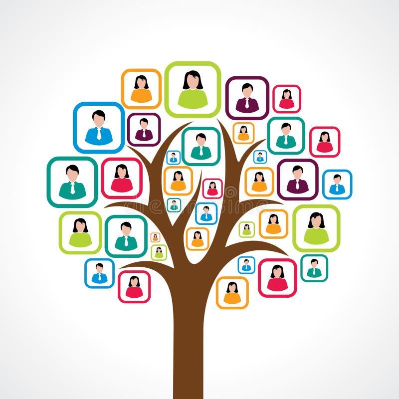Concepto de diseño social creativo del árbol de la gente stock de ilustración