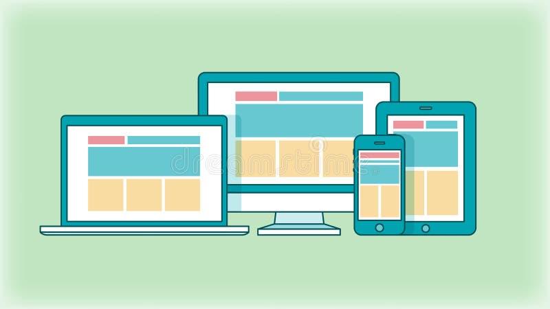 Concepto de diseño web responsivo stock de ilustración