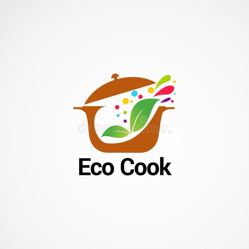 Concepto de diseños del logotipo del cocinero de Eco, icono, elemento, y plantilla para la compañía stock de ilustración