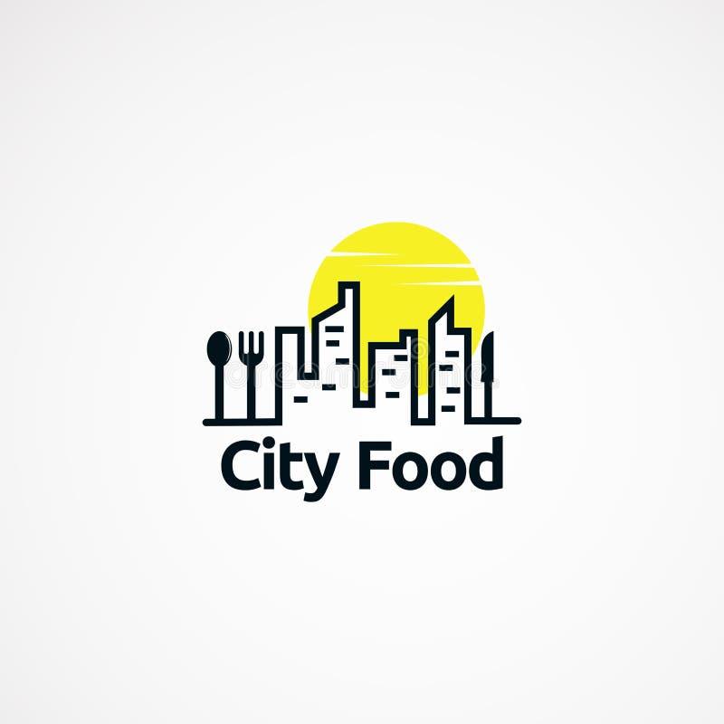 Concepto de diseños del logotipo de la comida de la ciudad con el sol, el icono, el elemento, y la plantilla para la compañía ilustración del vector
