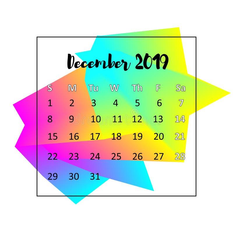 Concepto de dise?o de 2019 calendarios En diciembre de 2019 imagen de archivo