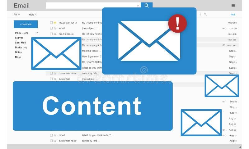 Concepto de distribución Blogging contento de Internet de los datos medios stock de ilustración