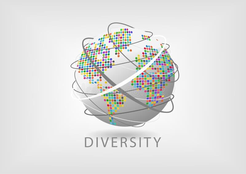 Concepto de diversidad de la mano de obra en todo el mundo ilustración del vector