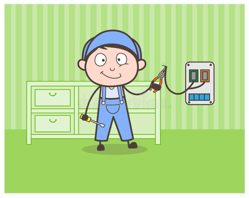 Concepto de Doing Repairing Vector del electricista de la historieta libre illustration