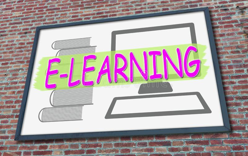 Concepto de e-learning en una valla publicitaria fotos de archivo libres de regalías
