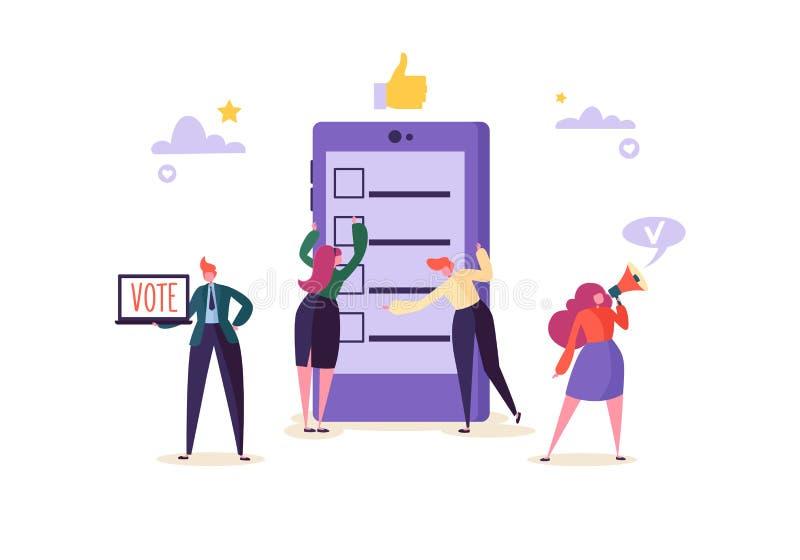 concepto de E-votación con los caracteres que votan usando el ordenador portátil vía sistema electrónico de Internet El hombre y  stock de ilustración