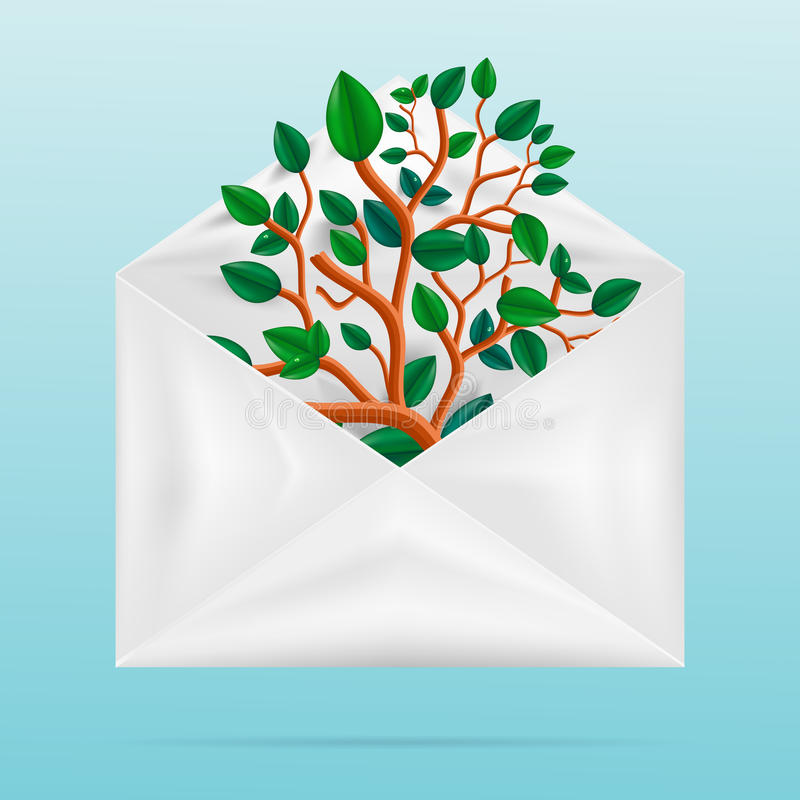 Concepto de Eco Árbol verde en el sobre de papel stock de ilustración