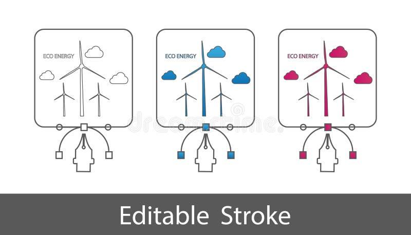 Concepto de Eco de la turbina de viento - esquema diseñó el icono - movimiento Editable - ejemplo del vector - aislado en el fond ilustración del vector