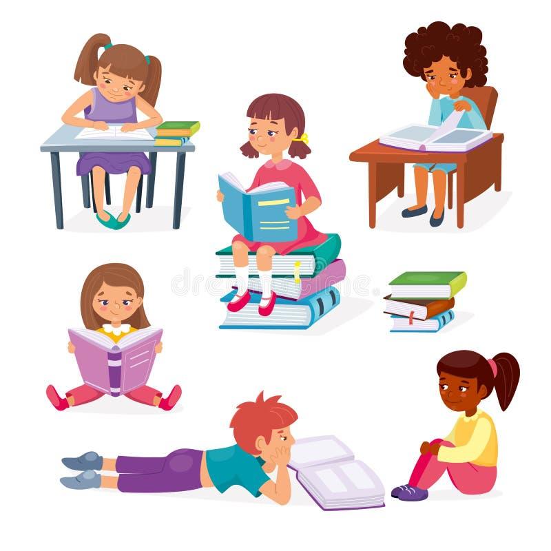 Concepto de educación de los niños Niñas pequeñas sentadas y niños tendiendo libros Hobby intelectual de los niños Inteligente stock de ilustración