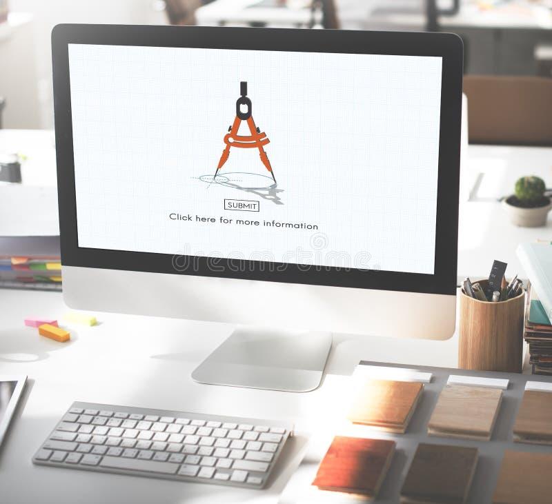 Concepto de elaboración del negocio de las herramientas de la arquitectura de Compas imagen de archivo