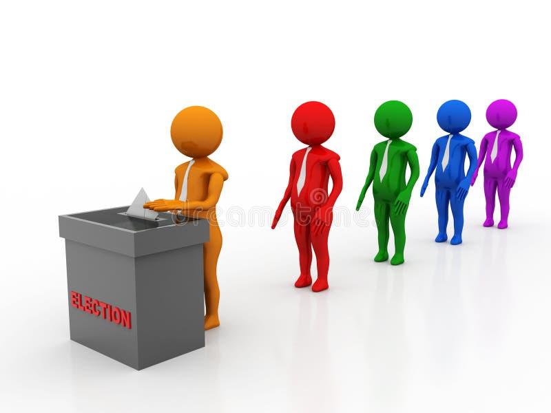 Concepto de elección, votando y votando, gente que espera en línea para votar aislado en el fondo blanco ilustración 3D ilustración del vector