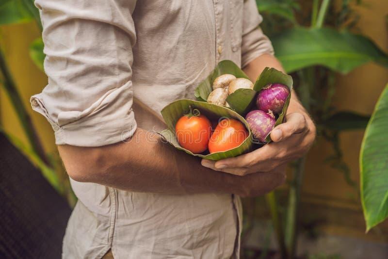 Concepto de empaquetado del producto respetuoso del medio ambiente Las verduras envolvieron en una hoja del plátano, como alterna fotos de archivo libres de regalías