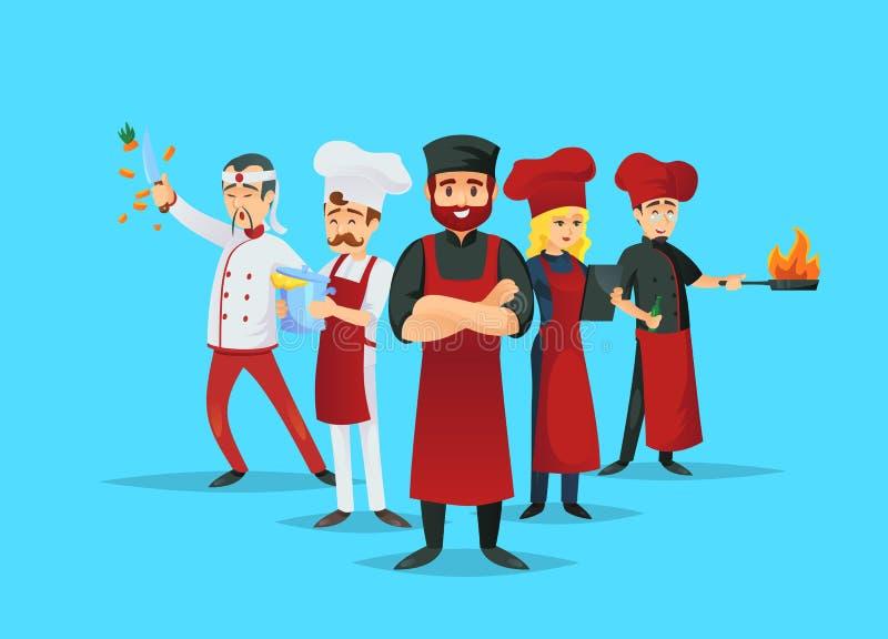 Concepto de enseñanza del cocinero profesional con los cocineros stock de ilustración