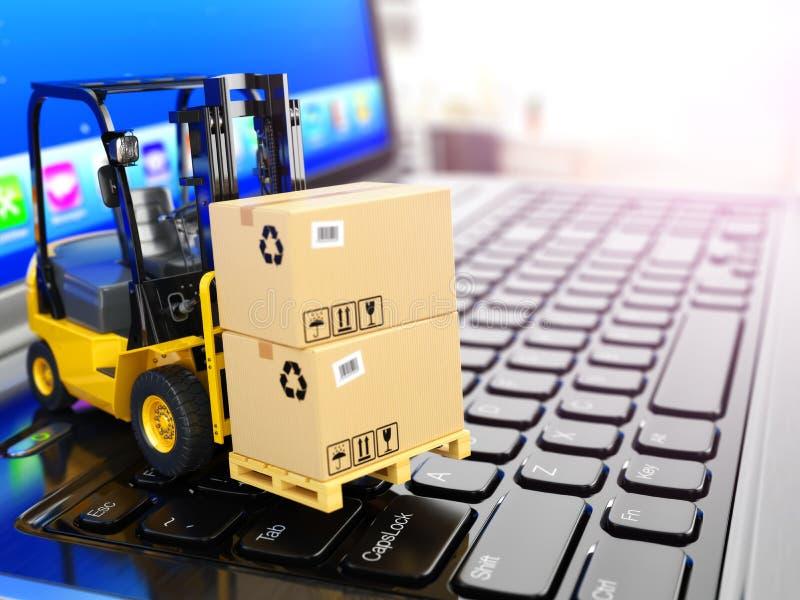 Concepto de entrega, de envío o de logística Carretilla elevadora en el ordenador portátil ilustración del vector
