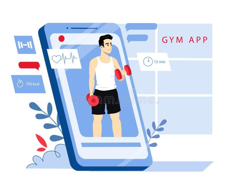 Concepto De Entrenador Personal En Línea, Instructor De Fitness Y Aplicación De Gym Joven Atlético Levantando El Tambor Y Ejercie stock de ilustración