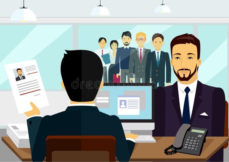 Concepto de entrevista de reclutamiento de alquiler ilustración del vector