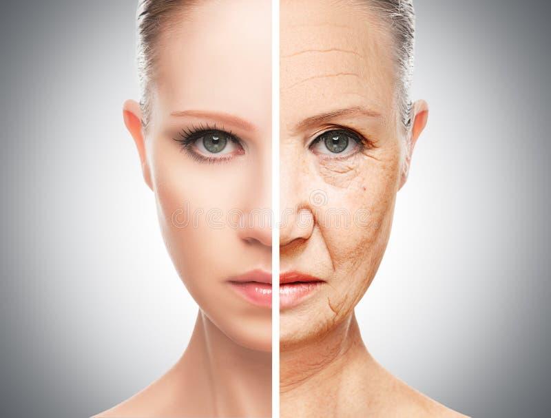 Concepto de envejecimiento y de cuidado de piel imagen de archivo libre de regalías