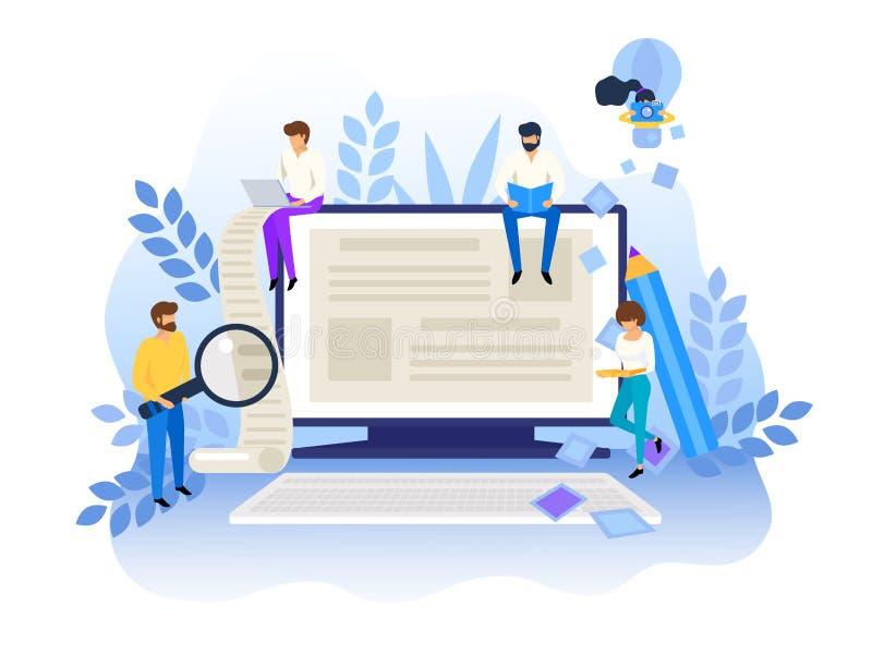 Concepto de escritura que bloguea y creativo Gestión contenta para la página web, bandera, presentación, medio social, carteles ilustración del vector
