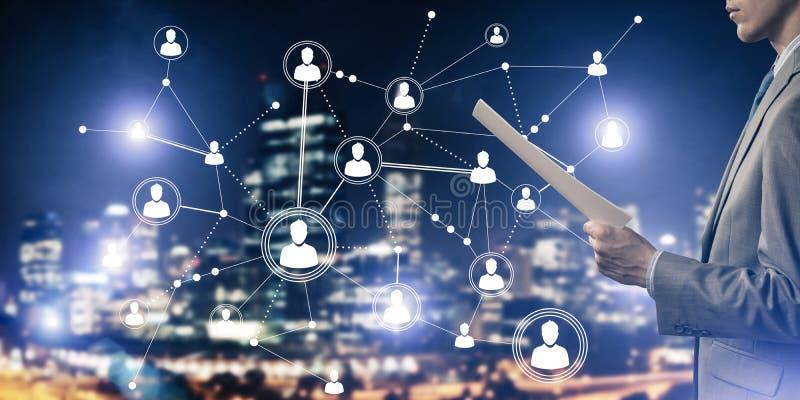 Concepto de establecimiento de una red moderno del negocio que conecta y coopera gente stock de ilustración