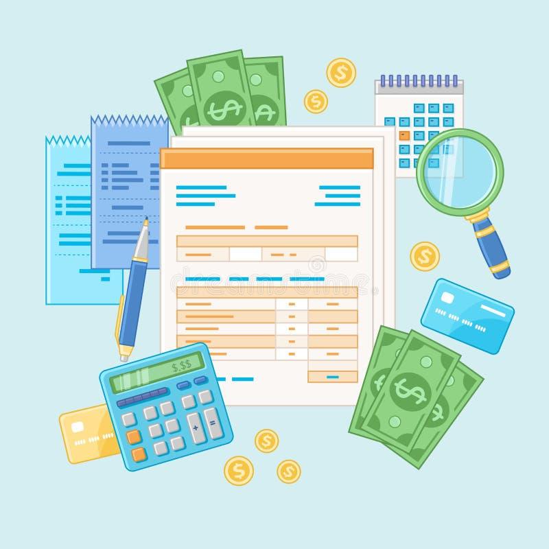 Concepto de estadísticas Pago y factura de impuestos Análisis financiero, planeando Documentos, formas stock de ilustración