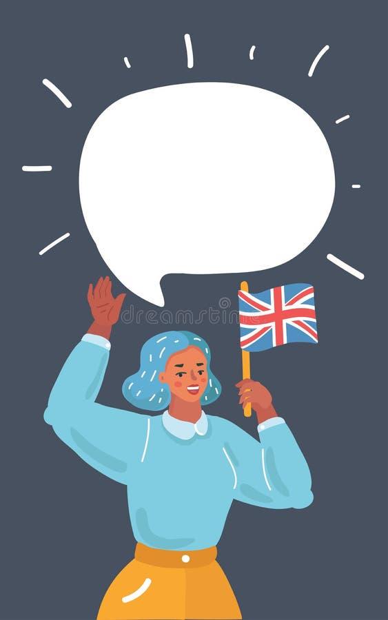 Concepto de estudiar inglés o de viajar stock de ilustración