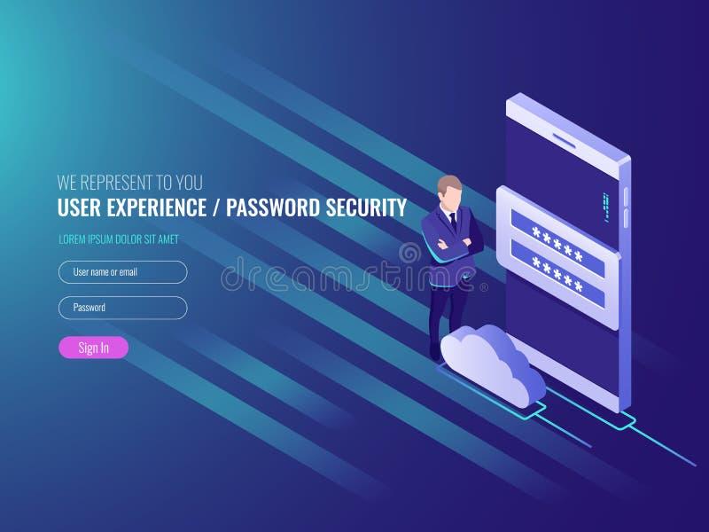 Concepto de exchenge de los datos del servidor de la nube, servicios de la nube, reloj elegante con el hombre de negocios, red gl libre illustration